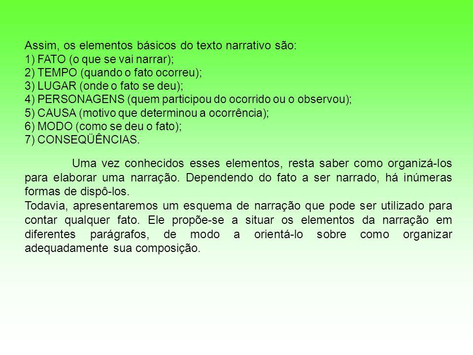 Assim, os elementos básicos do texto narrativo são: 1) FATO (o que se vai narrar); 2) TEMPO (quando o fato ocorreu); 3) LUGAR (onde o fato se deu); 4)