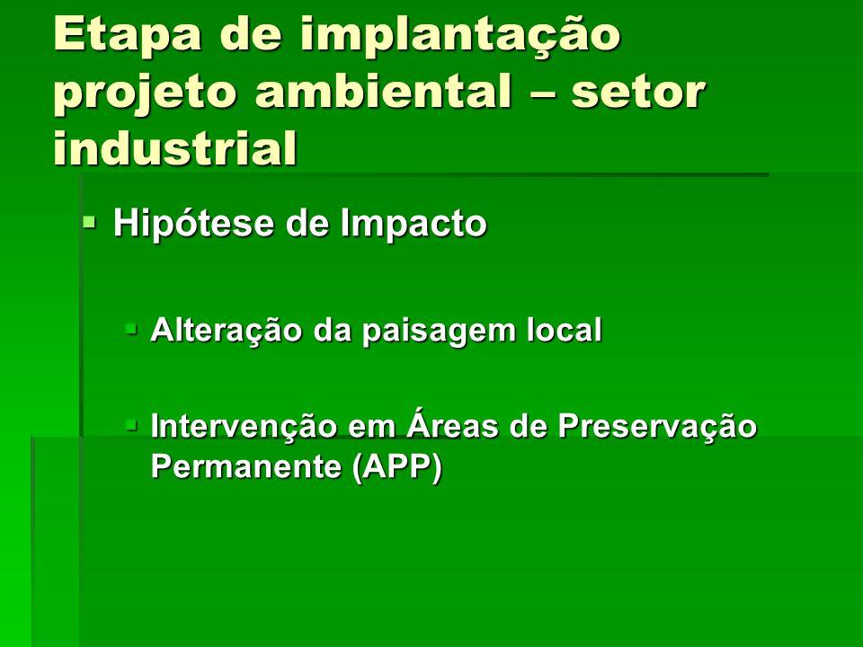 Etapa de implantação projeto ambiental – setor industrial Hipótese de Impacto Hipótese de Impacto Alteração da paisagem local Alteração da paisagem local Intervenção em Áreas de Preservação Permanente (APP) Intervenção em Áreas de Preservação Permanente (APP)