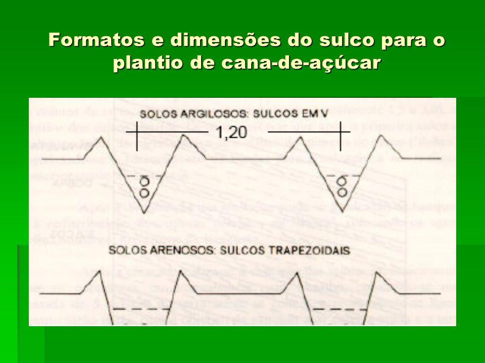 Formatos e dimensões do sulco para o plantio de cana-de-açúcar