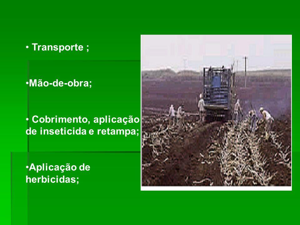 Transporte ; Mão-de-obra; Cobrimento, aplicação de inseticida e retampa; Aplicação de herbicidas;