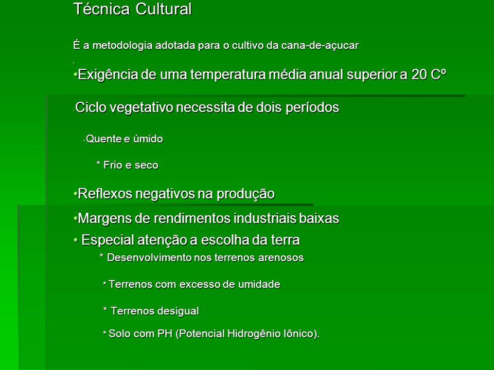Técnica Cultural É a metodologia adotada para o cultivo da cana-de-açucar r.