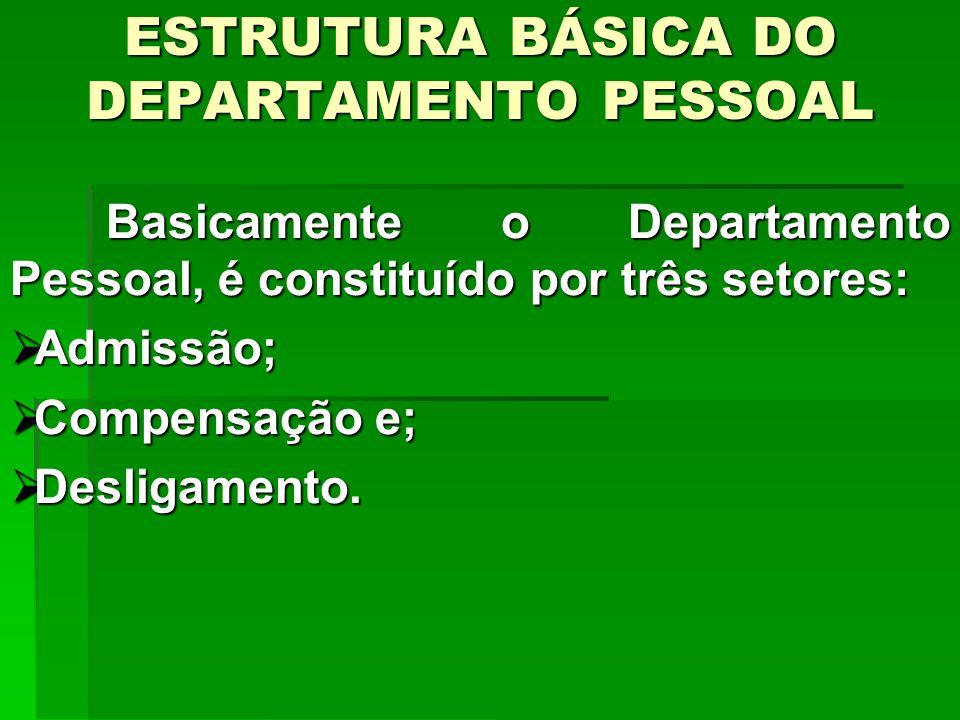 ESTRUTURA BÁSICA DO DEPARTAMENTO PESSOAL Basicamente o Departamento Pessoal, é constituído por três setores: Admissão; Admissão; Compensação e; Compensação e; Desligamento.