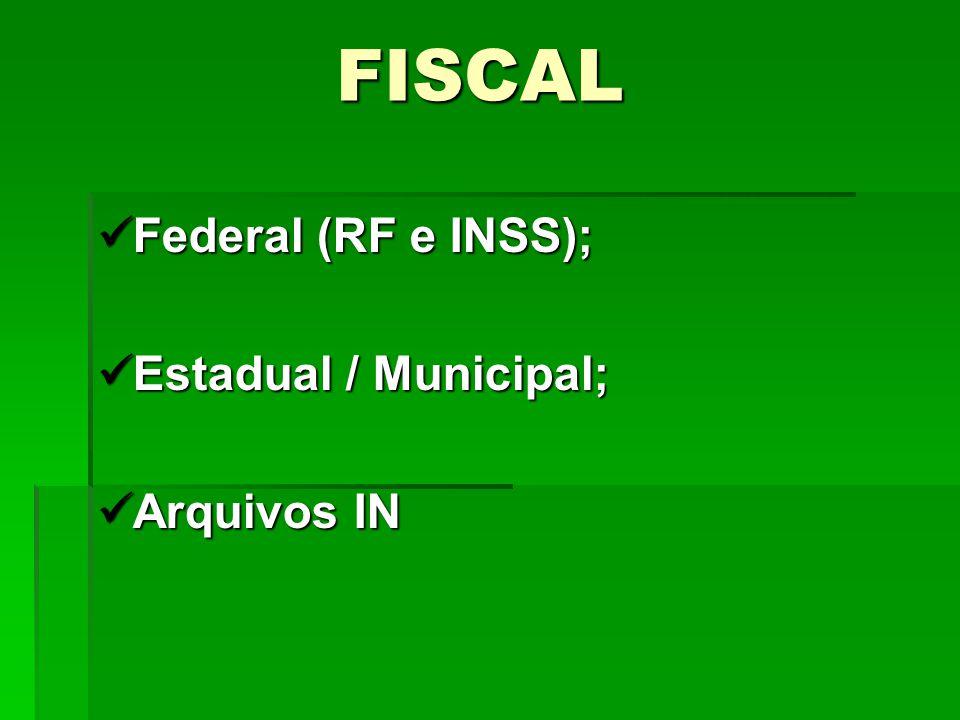 FISCAL Federal (RF e INSS); Federal (RF e INSS); Estadual / Municipal; Estadual / Municipal; Arquivos IN Arquivos IN