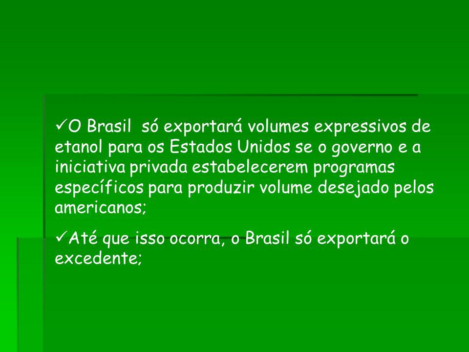 O Brasil só exportará volumes expressivos de etanol para os Estados Unidos se o governo e a iniciativa privada estabelecerem programas específicos para produzir volume desejado pelos americanos; Até que isso ocorra, o Brasil só exportará o excedente;