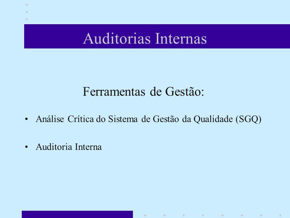Auditorias Internas Ferramentas de Gestão: Análise Crítica do Sistema de Gestão da Qualidade (SGQ) Auditoria Interna