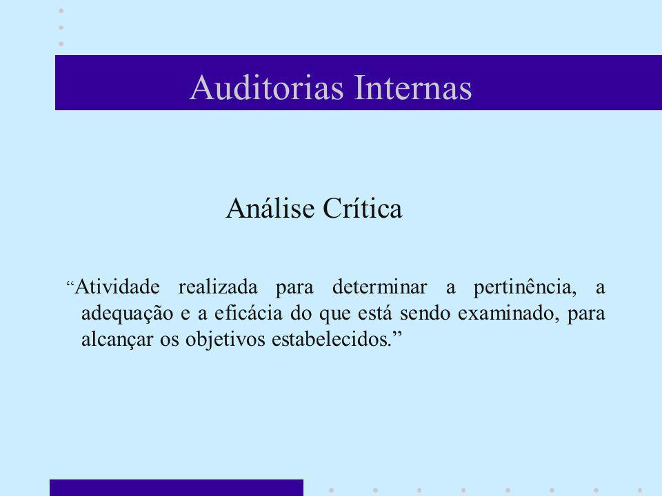 Auditorias Internas Análise Crítica Atividade realizada para determinar a pertinência, a adequação e a eficácia do que está sendo examinado, para alca