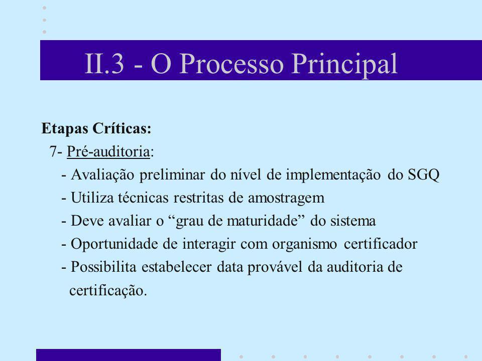 II.3 - O Processo Principal Etapas Críticas: 7- Pré-auditoria: - Avaliação preliminar do nível de implementação do SGQ - Utiliza técnicas restritas de