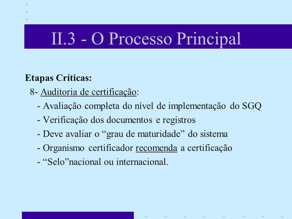 II.3 - O Processo Principal Etapas Críticas: 8- Auditoria de certificação: - Avaliação completa do nível de implementação do SGQ - Verificação dos doc