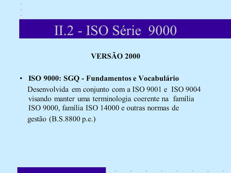 II.2 - ISO Série 9000 VERSÃO 2000 ISO 9000: SGQ - Fundamentos e Vocabulário Desenvolvida em conjunto com a ISO 9001 e ISO 9004 visando manter uma term