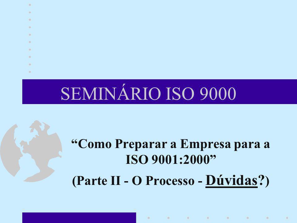 SEMINÁRIO ISO 9000 Como Preparar a Empresa para a ISO 9001:2000 (Parte II - O Processo - Dúvidas? )