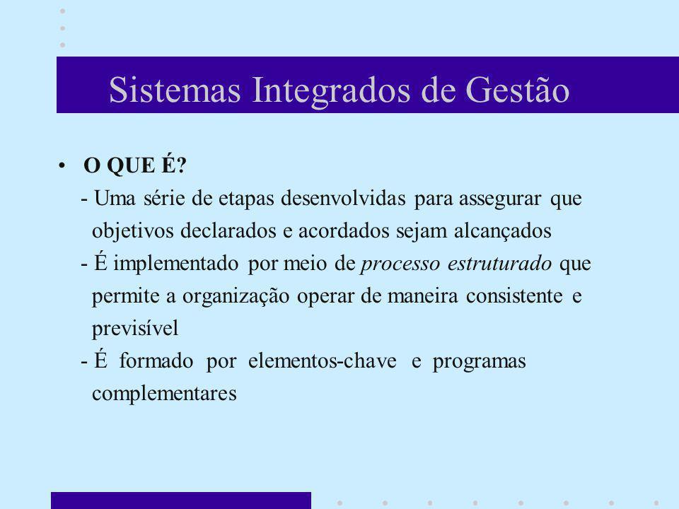 Sistemas Integrados de Gestão O QUE É? - Uma série de etapas desenvolvidas para assegurar que objetivos declarados e acordados sejam alcançados - É im