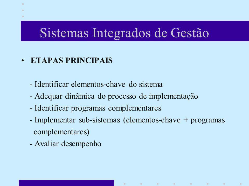 Sistemas Integrados de Gestão ETAPAS PRINCIPAIS - Identificar elementos-chave do sistema - Adequar dinâmica do processo de implementação - Identificar
