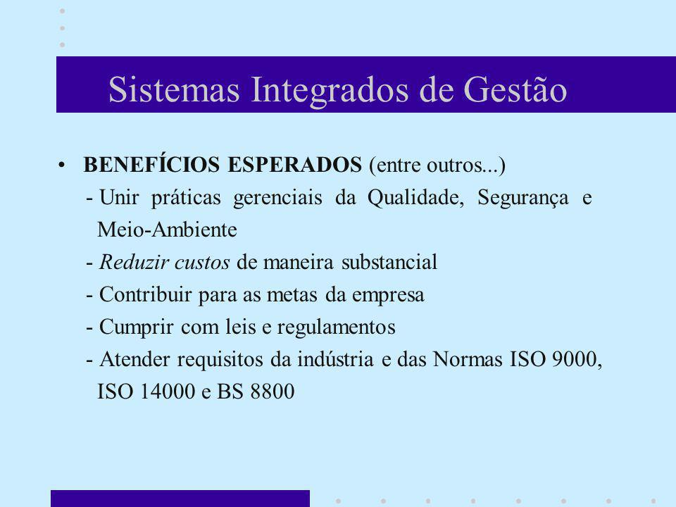 Sistemas Integrados de Gestão BENEFÍCIOS ESPERADOS (entre outros...) - Unir práticas gerenciais da Qualidade, Segurança e Meio-Ambiente - Reduzir cust