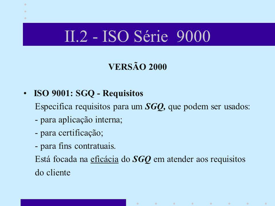 II.2 - ISO Série 9000 VERSÃO 2000 ISO 9001: SGQ - Requisitos Especifica requisitos para um SGQ, que podem ser usados: - para aplicação interna; - para