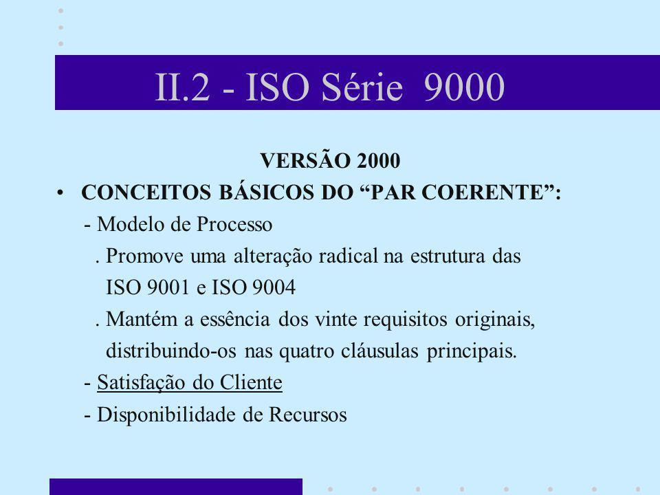 II.2 - ISO Série 9000 VERSÃO 2000 CONCEITOS BÁSICOS DO PAR COERENTE: - Modelo de Processo. Promove uma alteração radical na estrutura das ISO 9001 e I
