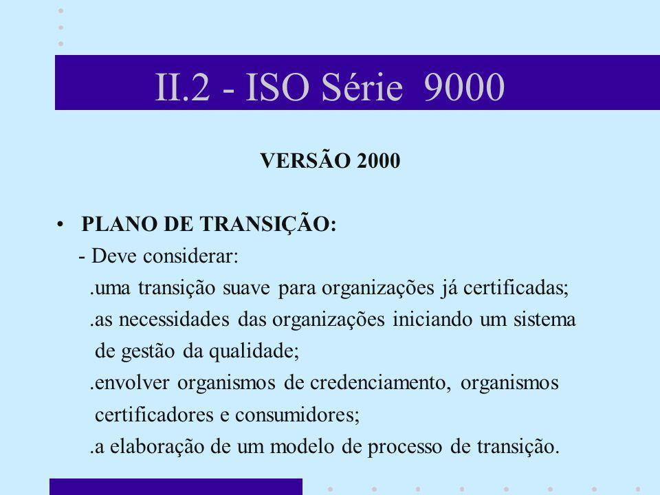 II.2 - ISO Série 9000 VERSÃO 2000 PLANO DE TRANSIÇÃO: - Deve considerar:.uma transição suave para organizações já certificadas;.as necessidades das or