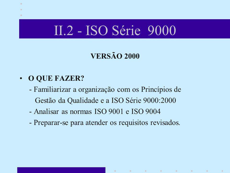 II.2 - ISO Série 9000 VERSÃO 2000 O QUE FAZER? - Familiarizar a organização com os Princípios de Gestão da Qualidade e a ISO Série 9000:2000 - Analisa