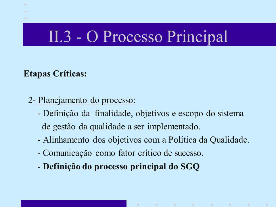 II.3 - O Processo Principal Etapas Críticas: 2- Planejamento do processo: - Definição da finalidade, objetivos e escopo do sistema de gestão da qualid