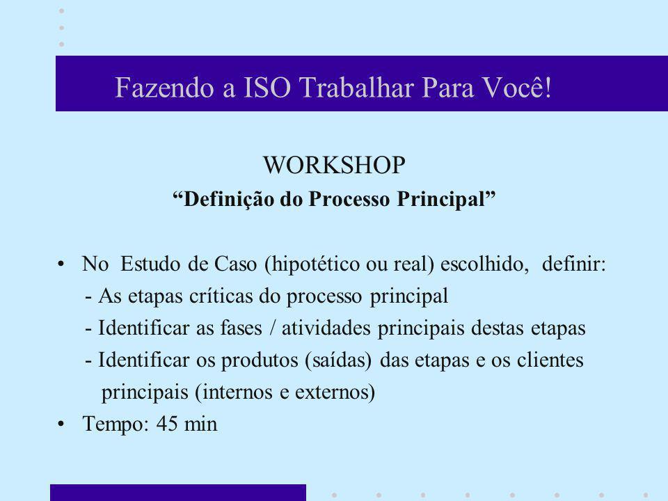 Fazendo a ISO Trabalhar Para Você! WORKSHOP Definição do Processo Principal No Estudo de Caso (hipotético ou real) escolhido, definir: - As etapas crí