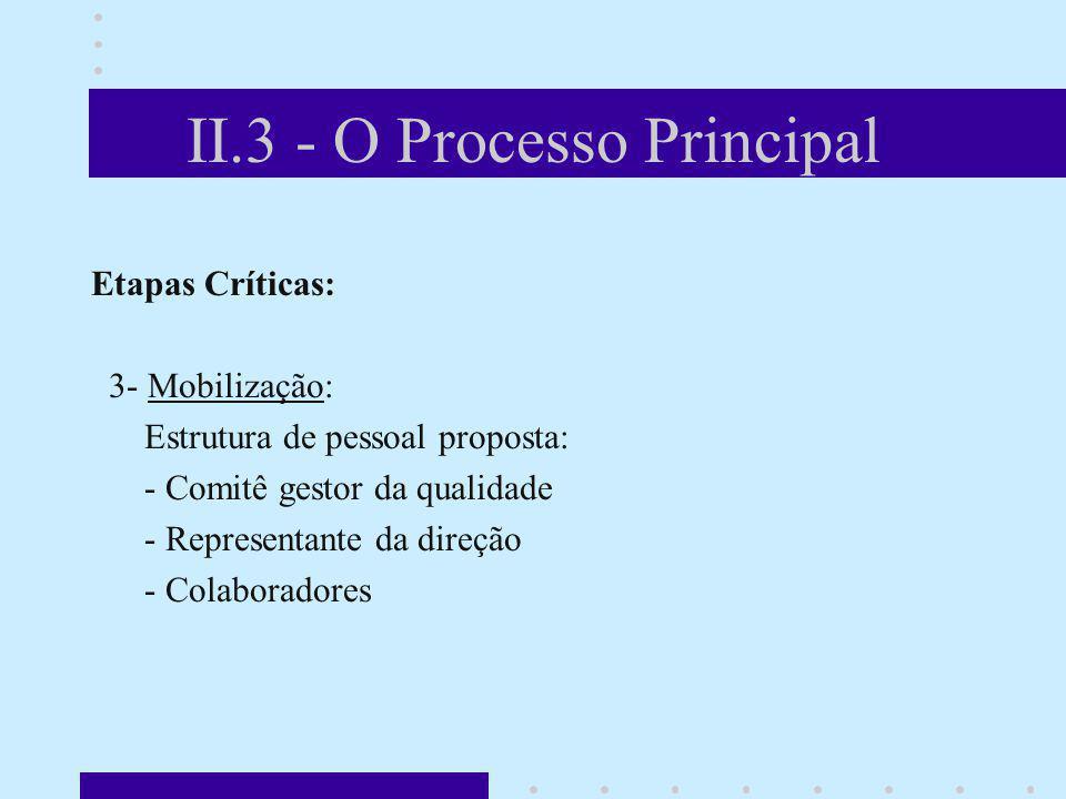 II.3 - O Processo Principal Etapas Críticas: 3- Mobilização: Estrutura de pessoal proposta: - Comitê gestor da qualidade - Representante da direção -