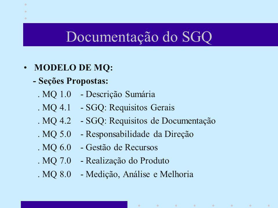 Documentação do SGQ MODELO DE MQ: - Seções Propostas:. MQ 1.0 - Descrição Sumária. MQ 4.1 - SGQ: Requisitos Gerais. MQ 4.2 - SGQ: Requisitos de Docume