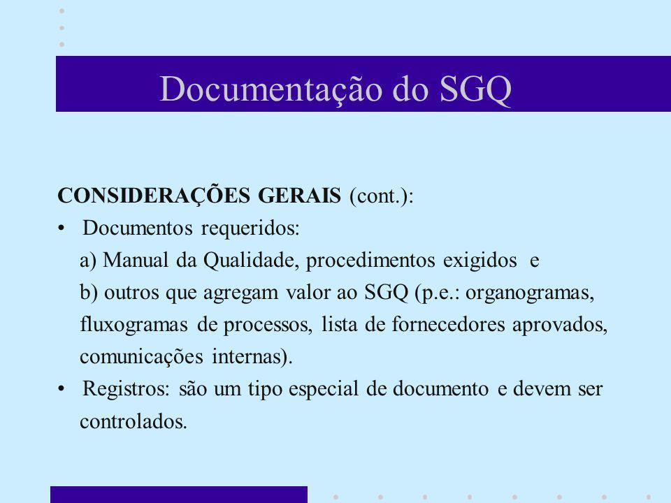 Documentação do SGQ CONSIDERAÇÕES GERAIS (cont.): Documentos requeridos: a) Manual da Qualidade, procedimentos exigidos e b) outros que agregam valor