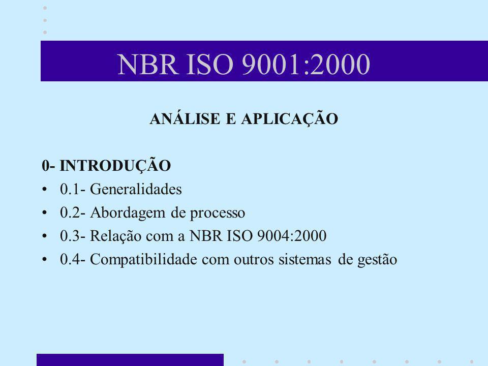 NBR ISO 9001:2000 ANÁLISE E APLICAÇÃO 0- INTRODUÇÃO 0.1- Generalidades 0.2- Abordagem de processo 0.3- Relação com a NBR ISO 9004:2000 0.4- Compatibil