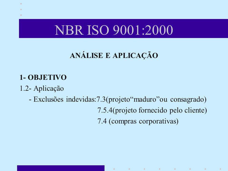 NBR ISO 9001:2000 ANÁLISE E APLICAÇÃO 1- OBJETIVO 1.2- Aplicação - Exclusões indevidas:7.3(projetomaduroou consagrado) 7.5.4(projeto fornecido pelo cl