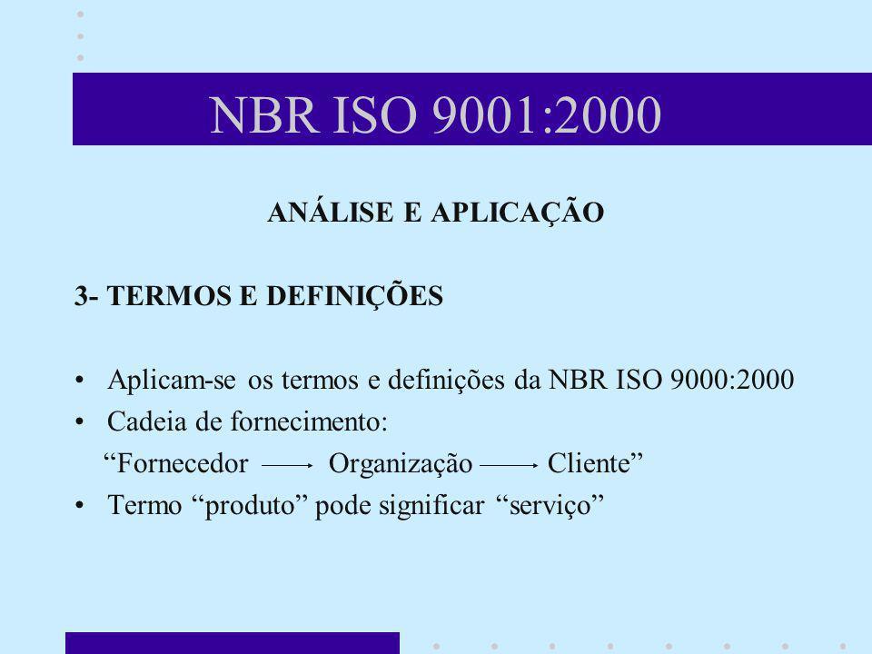 NBR ISO 9001:2000 ANÁLISE E APLICAÇÃO 3- TERMOS E DEFINIÇÕES Aplicam-se os termos e definições da NBR ISO 9000:2000 Cadeia de fornecimento: Fornecedor