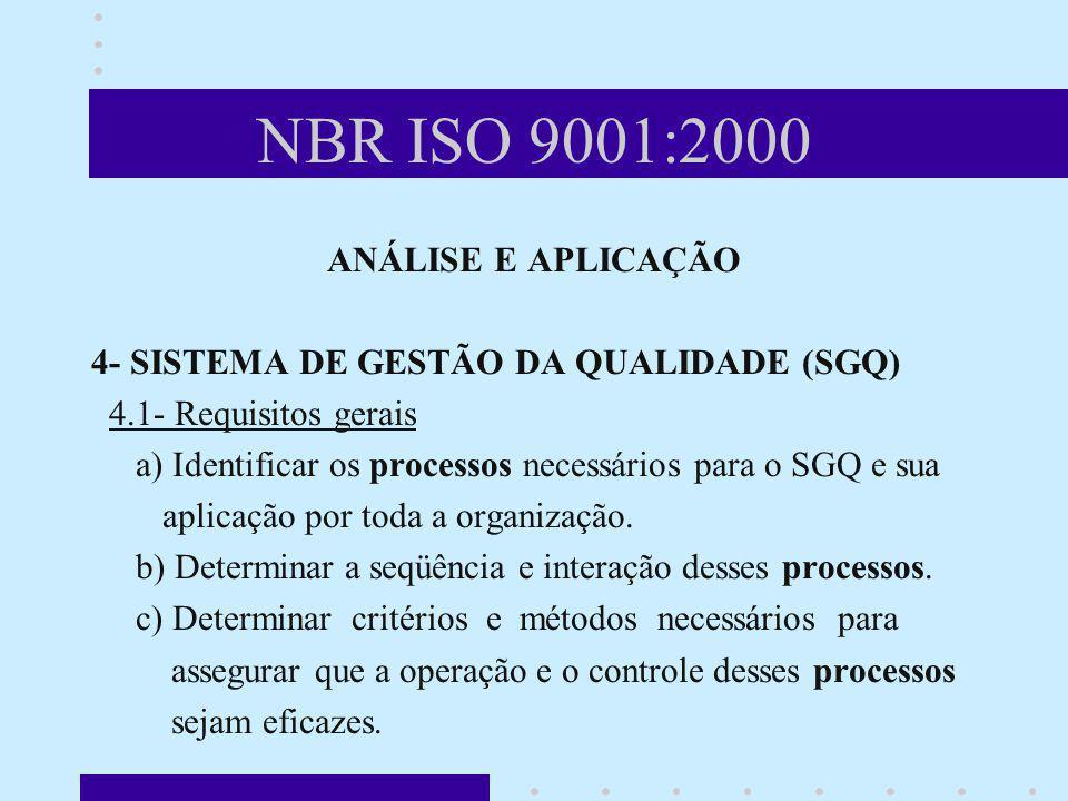 NBR ISO 9001:2000 ANÁLISE E APLICAÇÃO 4- SISTEMA DE GESTÃO DA QUALIDADE (SGQ) 4.1- Requisitos gerais a) Identificar os processos necessários para o SG