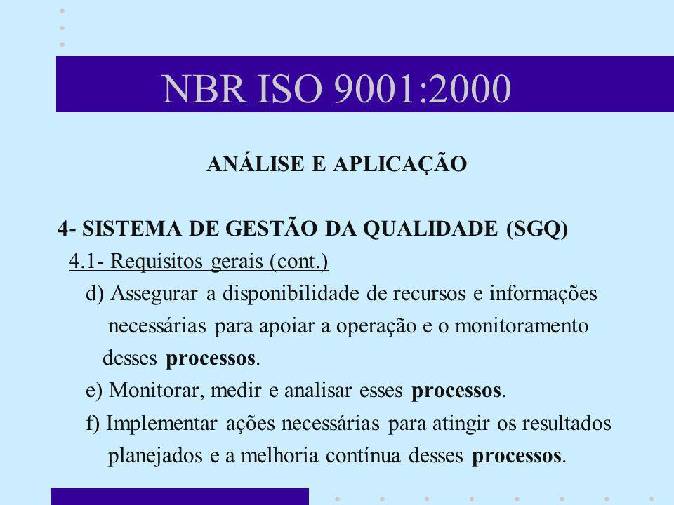 NBR ISO 9001:2000 ANÁLISE E APLICAÇÃO 4- SISTEMA DE GESTÃO DA QUALIDADE (SGQ) 4.1- Requisitos gerais (cont.) d) Assegurar a disponibilidade de recurso