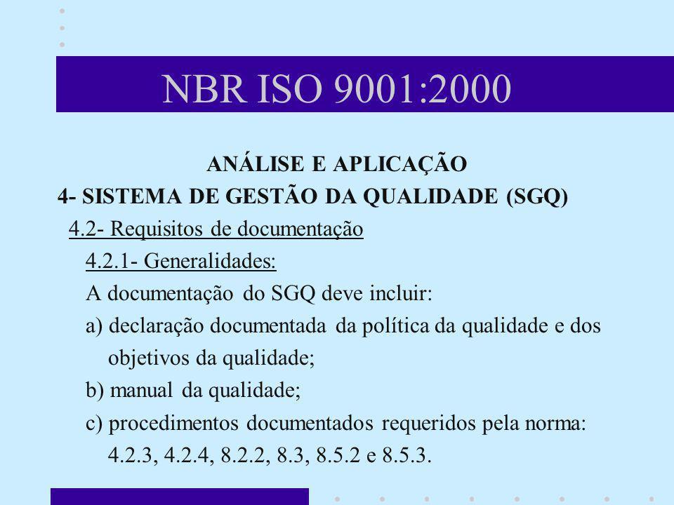 NBR ISO 9001:2000 ANÁLISE E APLICAÇÃO 4- SISTEMA DE GESTÃO DA QUALIDADE (SGQ) 4.2- Requisitos de documentação 4.2.1- Generalidades: A documentação do