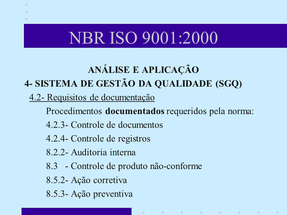 NBR ISO 9001:2000 ANÁLISE E APLICAÇÃO 4- SISTEMA DE GESTÃO DA QUALIDADE (SGQ) 4.2- Requisitos de documentação Procedimentos documentados requeridos pe