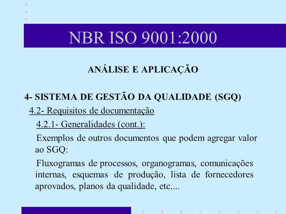 NBR ISO 9001:2000 ANÁLISE E APLICAÇÃO 4- SISTEMA DE GESTÃO DA QUALIDADE (SGQ) 4.2- Requisitos de documentação 4.2.1- Generalidades (cont.): Exemplos d