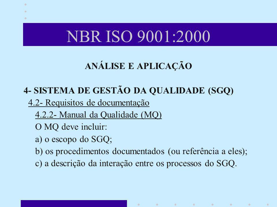 NBR ISO 9001:2000 ANÁLISE E APLICAÇÃO 4- SISTEMA DE GESTÃO DA QUALIDADE (SGQ) 4.2- Requisitos de documentação 4.2.2- Manual da Qualidade (MQ) O MQ dev