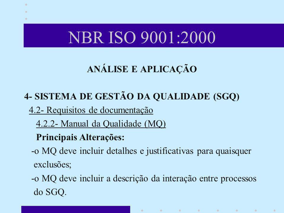 NBR ISO 9001:2000 ANÁLISE E APLICAÇÃO 4- SISTEMA DE GESTÃO DA QUALIDADE (SGQ) 4.2- Requisitos de documentação 4.2.2- Manual da Qualidade (MQ) Principa