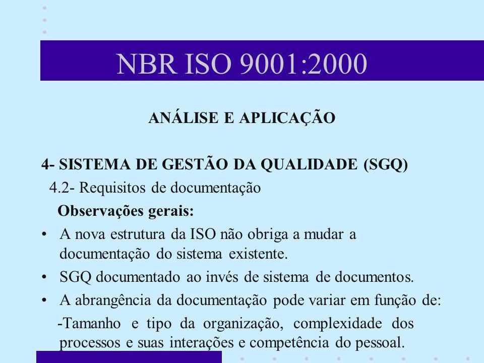 NBR ISO 9001:2000 ANÁLISE E APLICAÇÃO 4- SISTEMA DE GESTÃO DA QUALIDADE (SGQ) 4.2- Requisitos de documentação Observações gerais: A nova estrutura da