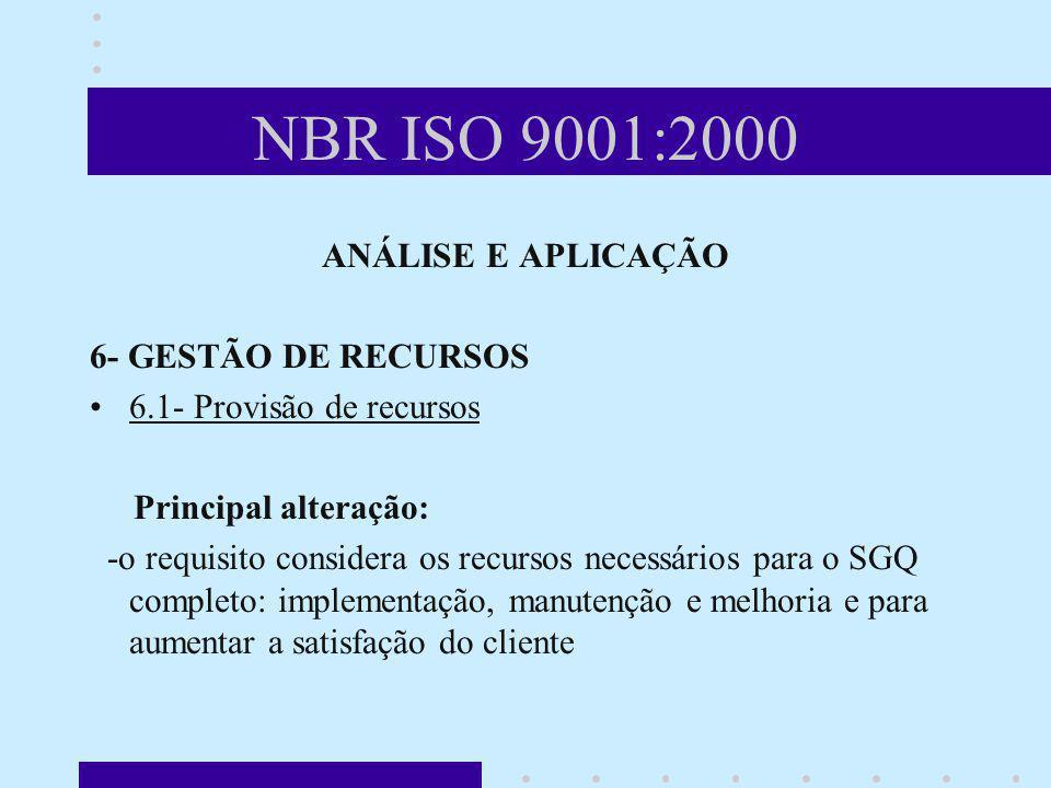 NBR ISO 9001:2000 ANÁLISE E APLICAÇÃO 6- GESTÃO DE RECURSOS 6.1- Provisão de recursos Principal alteração: -o requisito considera os recursos necessár