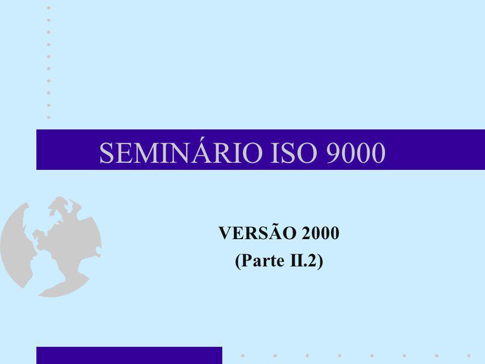 SEMINÁRIO ISO 9000 VERSÃO 2000 (Parte II.2) Neste módulo, vamos falar sobre a nova versão da ISO 9000, que foi publicada em Dezembro de 2000. Ela subs