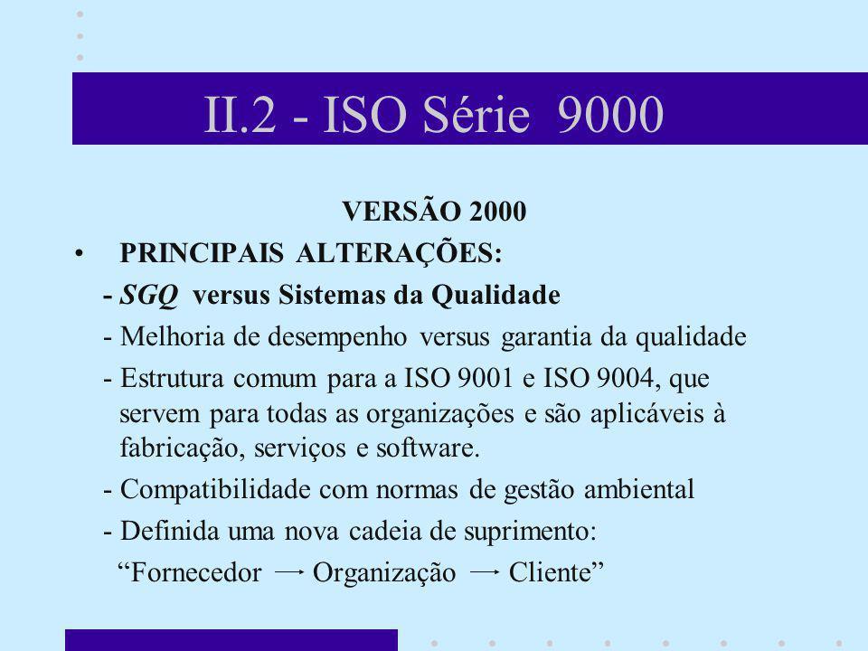 II.2 - ISO Série 9000 VERSÃO 2000 PRINCIPAIS ALTERAÇÕES: - SGQ versus Sistemas da Qualidade - Melhoria de desempenho versus garantia da qualidade - Es