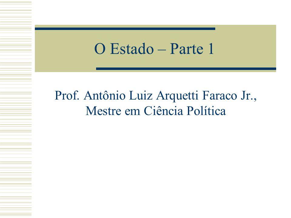 O Estado – Parte 1 Prof. Antônio Luiz Arquetti Faraco Jr., Mestre em Ciência Política