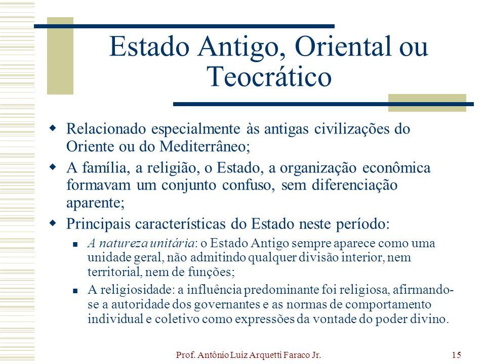 Prof. Antônio Luiz Arquetti Faraco Jr.15 Estado Antigo, Oriental ou Teocrático Relacionado especialmente às antigas civilizações do Oriente ou do Medi