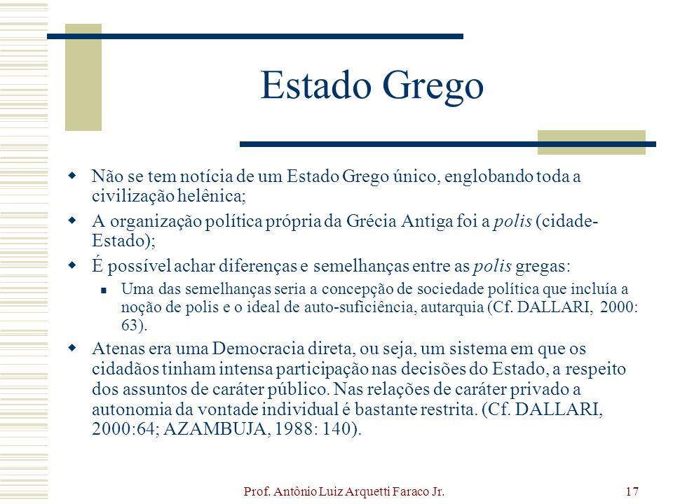 Prof. Antônio Luiz Arquetti Faraco Jr.17 Estado Grego Não se tem notícia de um Estado Grego único, englobando toda a civilização helênica; A organizaç