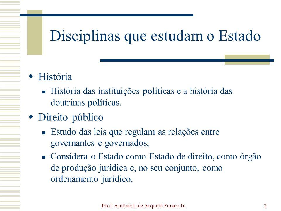Prof. Antônio Luiz Arquetti Faraco Jr.2 Disciplinas que estudam o Estado História História das instituições políticas e a história das doutrinas polít