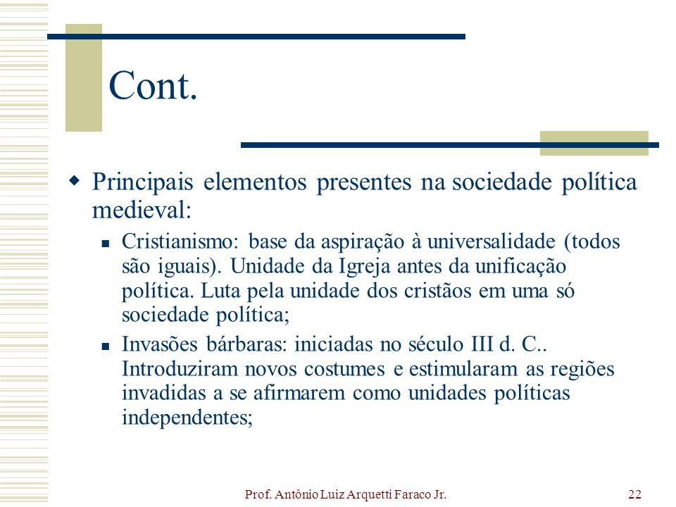 Prof. Antônio Luiz Arquetti Faraco Jr.22 Cont. Principais elementos presentes na sociedade política medieval: Cristianismo: base da aspiração à univer