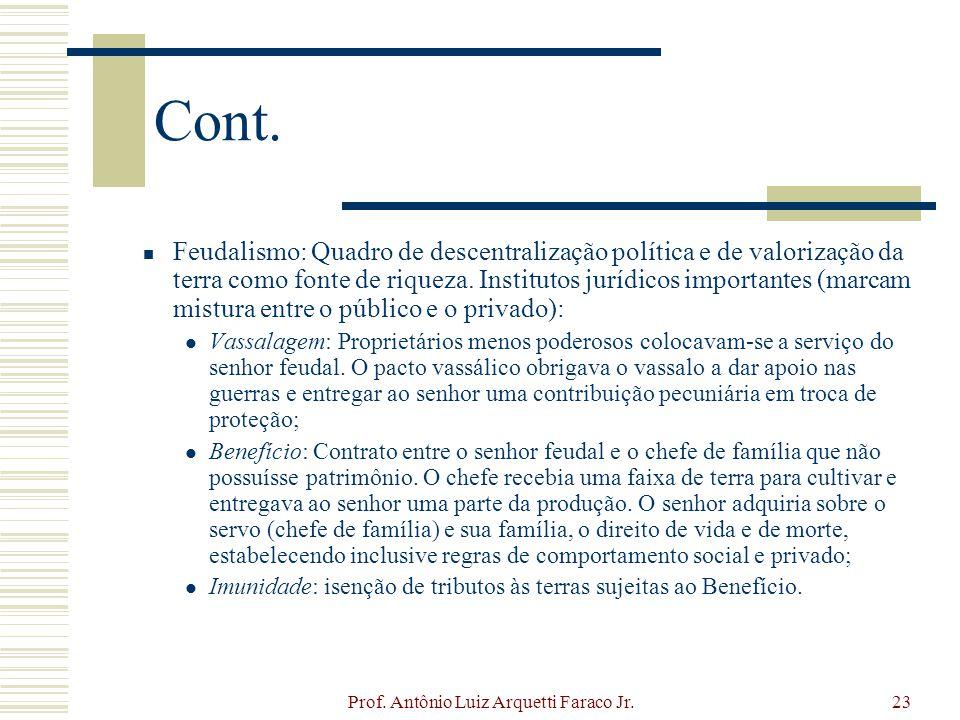 Prof. Antônio Luiz Arquetti Faraco Jr.23 Cont. Feudalismo: Quadro de descentralização política e de valorização da terra como fonte de riqueza. Instit