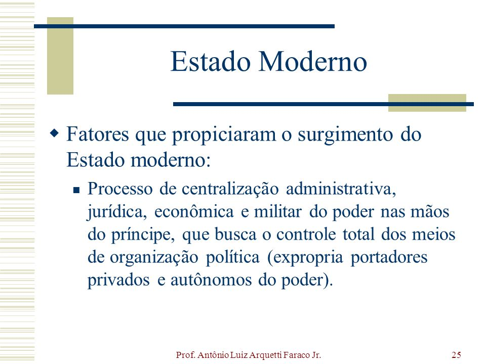 Prof. Antônio Luiz Arquetti Faraco Jr.25 Estado Moderno Fatores que propiciaram o surgimento do Estado moderno: Processo de centralização administrati
