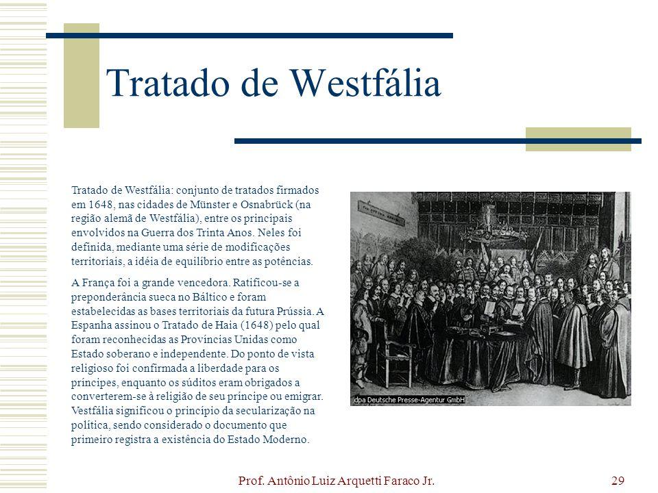 Prof. Antônio Luiz Arquetti Faraco Jr.29 Tratado de Westfália Tratado de Westfália: conjunto de tratados firmados em 1648, nas cidades de Münster e Os