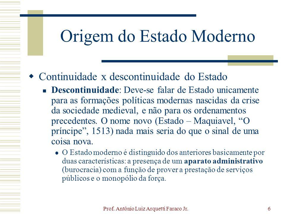 Prof. Antônio Luiz Arquetti Faraco Jr.6 Origem do Estado Moderno Continuidade x descontinuidade do Estado Descontinuidade: Deve-se falar de Estado uni
