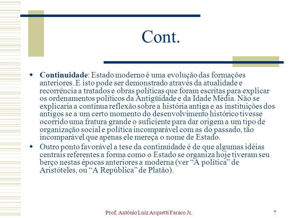 Prof. Antônio Luiz Arquetti Faraco Jr.7 Cont. Continuidade: Estado moderno é uma evolução das formações anteriores. E isto pode ser demonstrado atravé